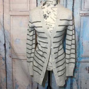 J Crew Cardigan Striped Merino Wool